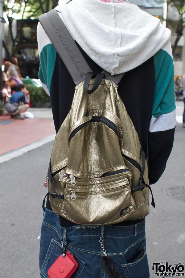 Gold H&M backpack