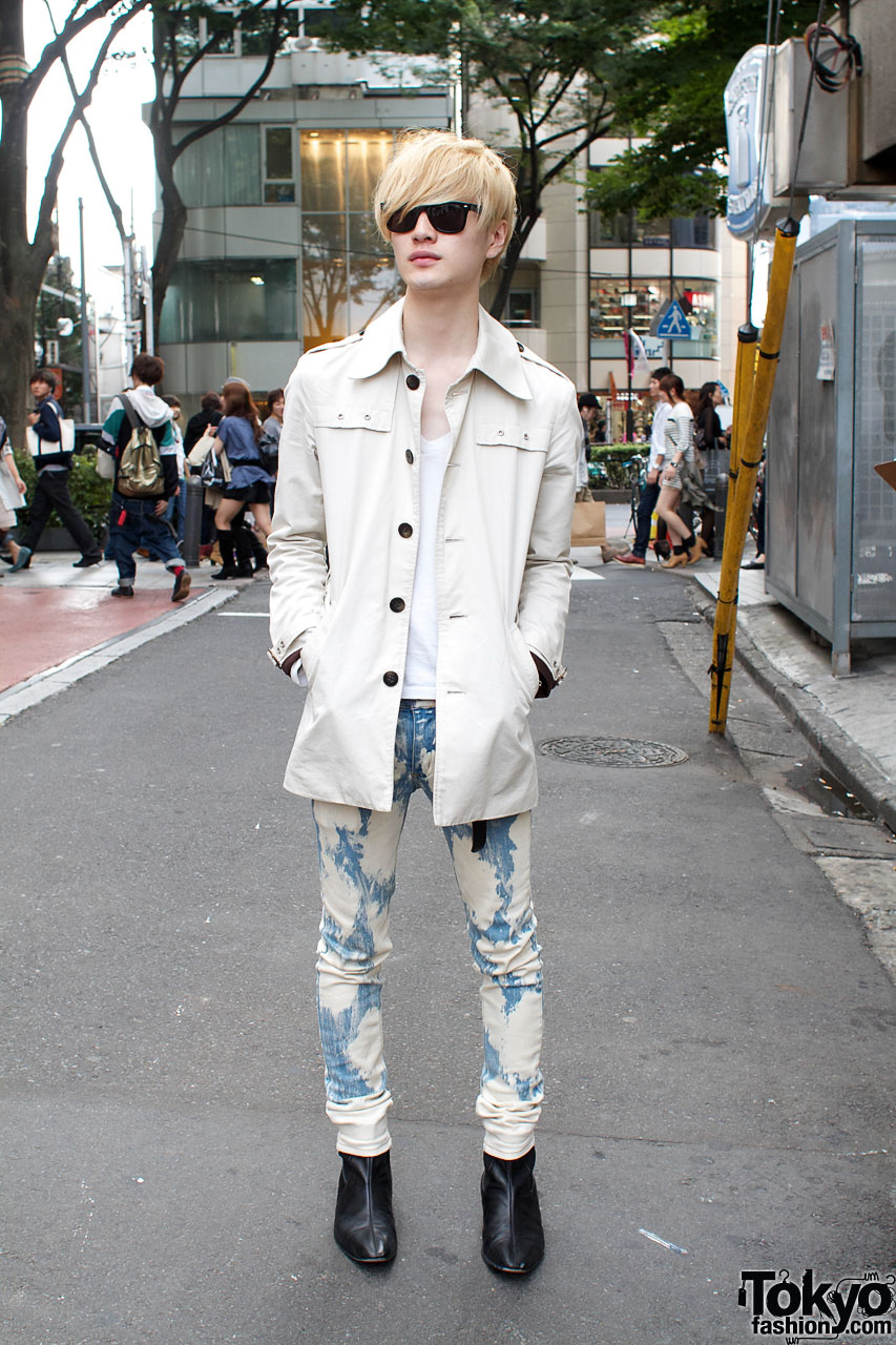Trench Style Jacket & Patterned Skinny Jeans