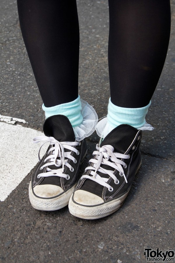 Black tights, ankle socks & sneakers