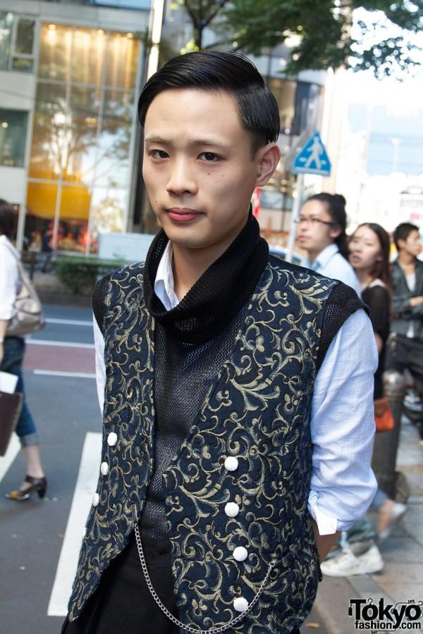 Vintage brocade vest & net top