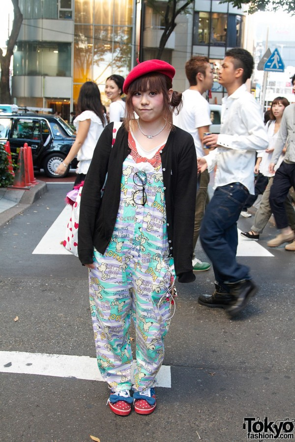 Candy Stripper Fan in Overalls & Pink Beret
