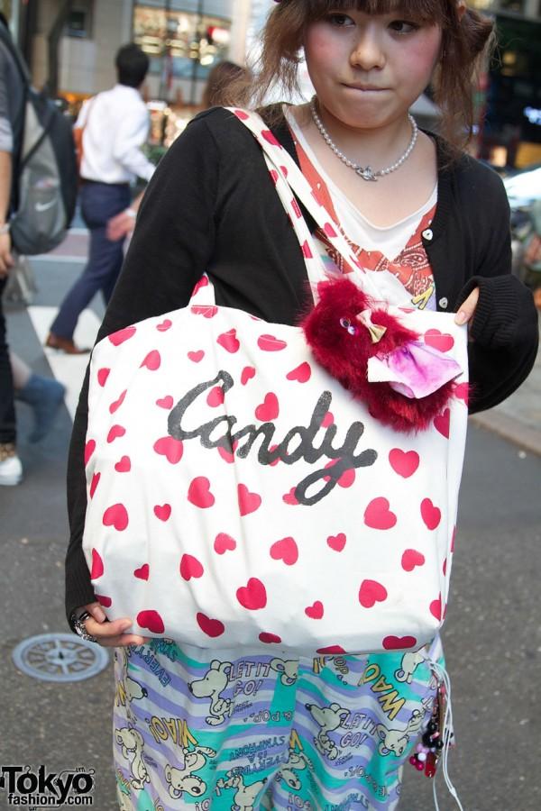 Candy Stripper heart-print bag