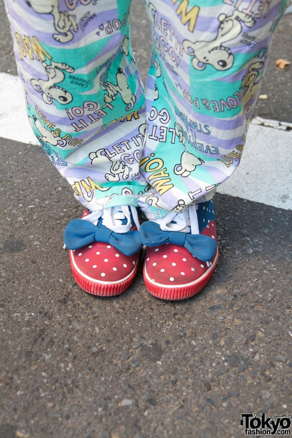 Candy Stripper polka dot shoes with bows