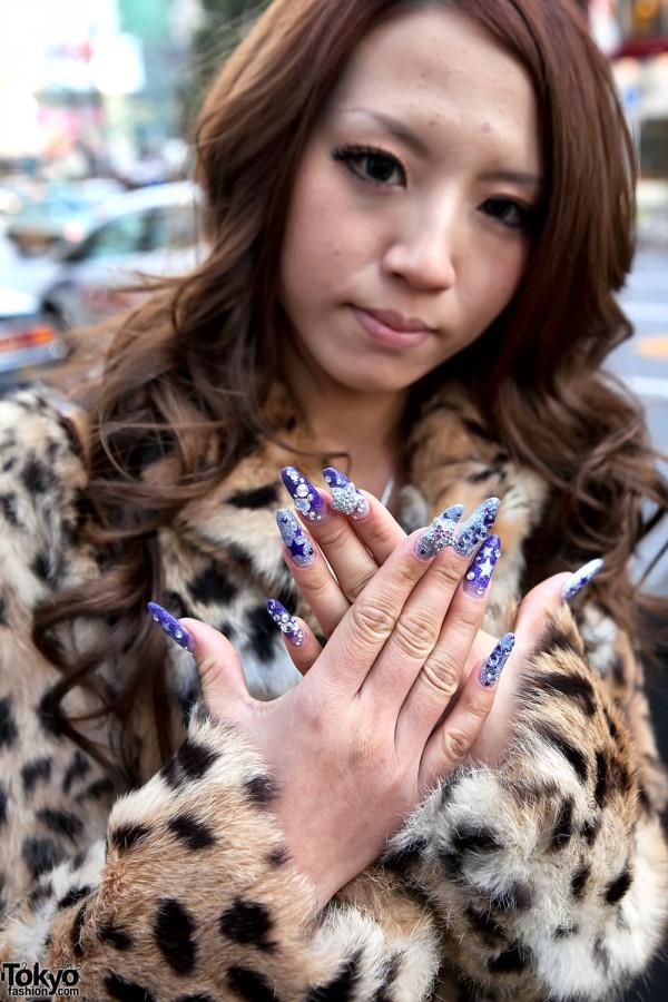 Shibuya Girl S Leopard Coat Jeweled Nails Amp Lv Bag