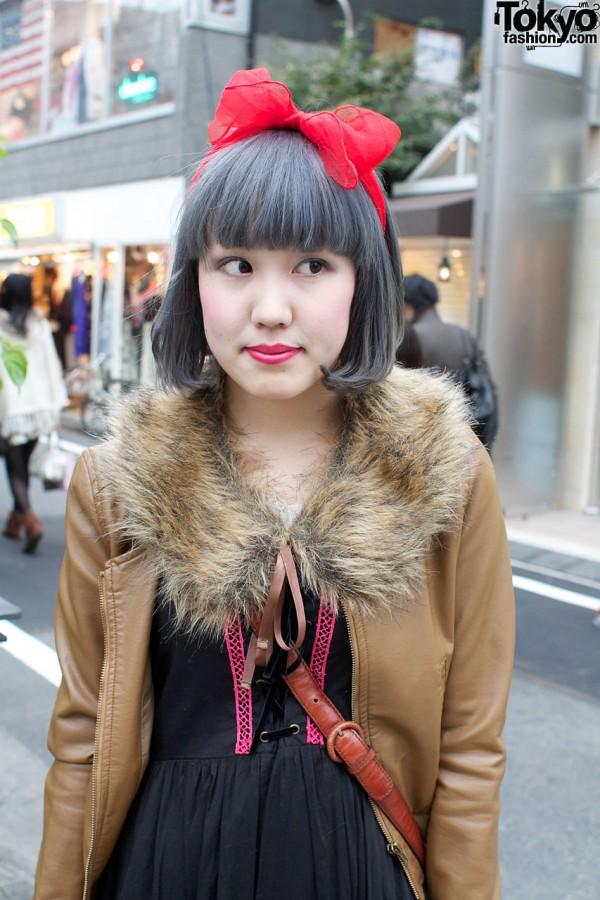 Hair bow & fur collar