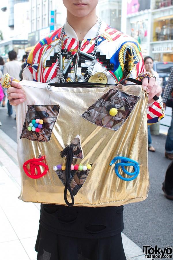 Bag with handmade appliques