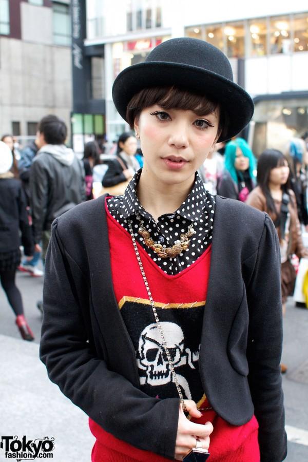 Skull shirt & polka dot blouse