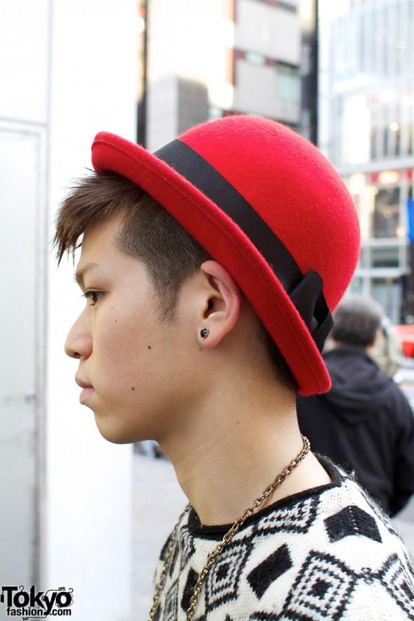 Red hat & stud earrings