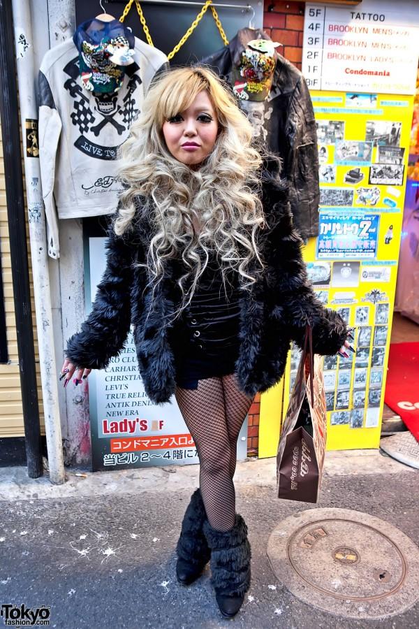 Blonde Shibuya Girl With Chanel Nail Art & Fishnets