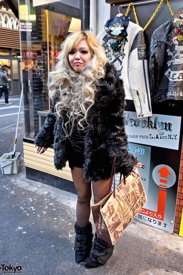 Blonde Shibuya Girl in Fishnet Stockings