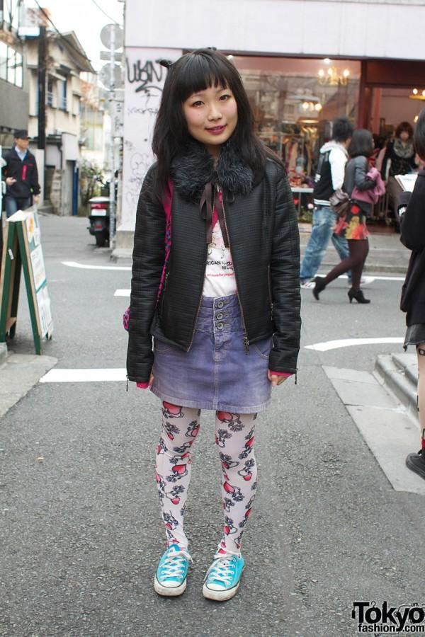Girl with Fur Collar, Print Tights & Barbie Bag