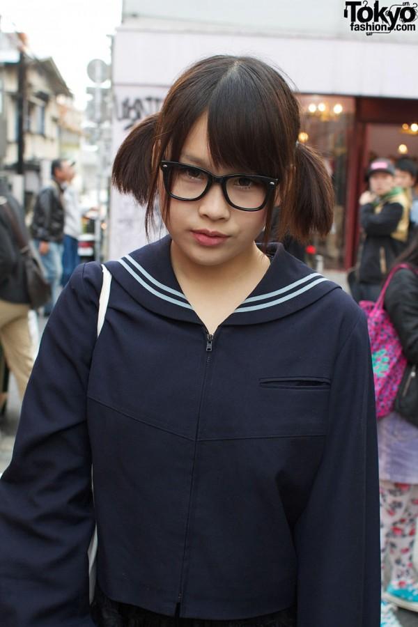 Pigtails, glasses & sailor shirt