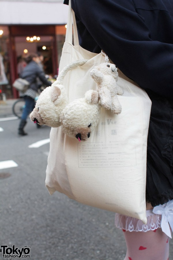Muji bag with teddy bear earmuffs & toy