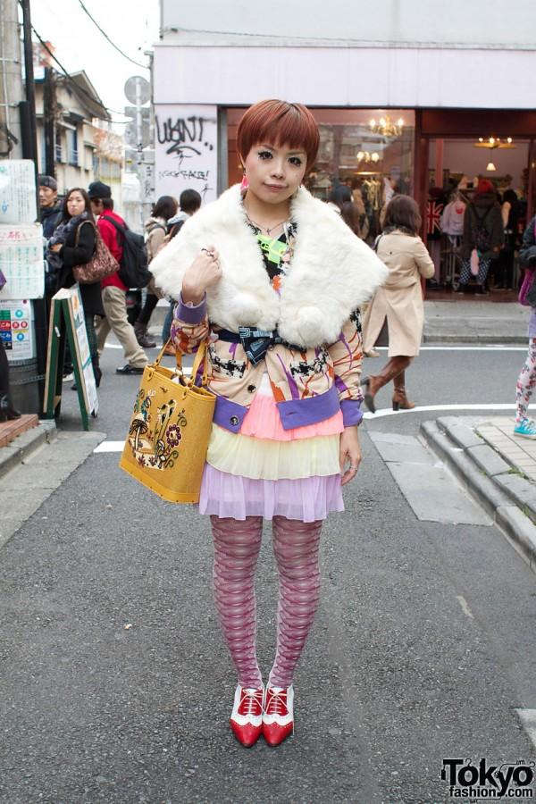 Designer in Fur Stole, Chiffon Skirt & Spectator Shoes