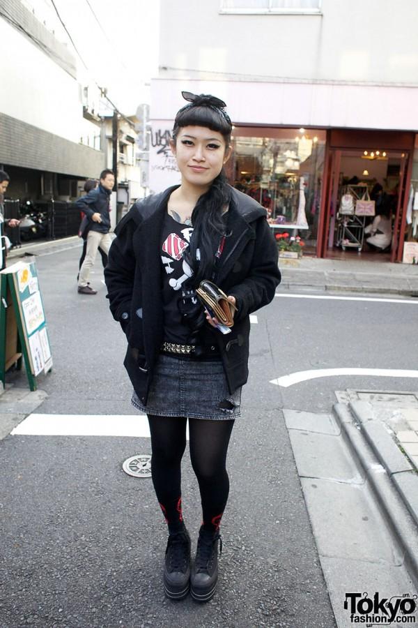 Nadia Staffer with Tattoo & Skull T-shirt