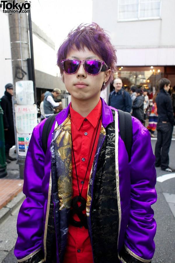 Red shirt & purple satin jacket