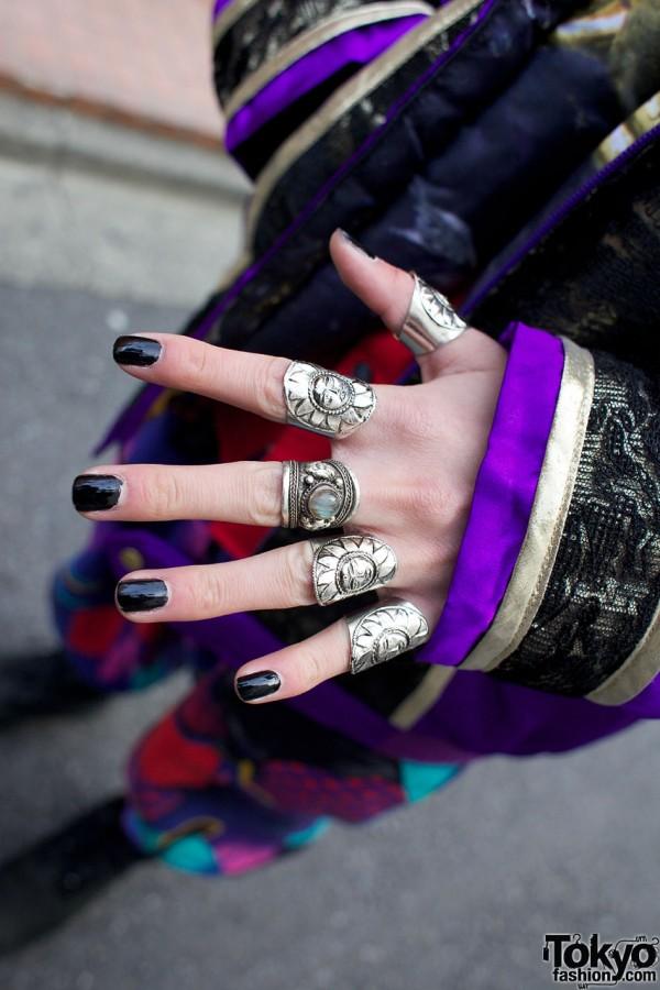 Silver sunburst rings