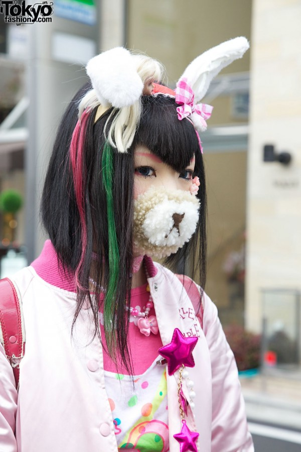 Harajuku Girl in Bear Mask