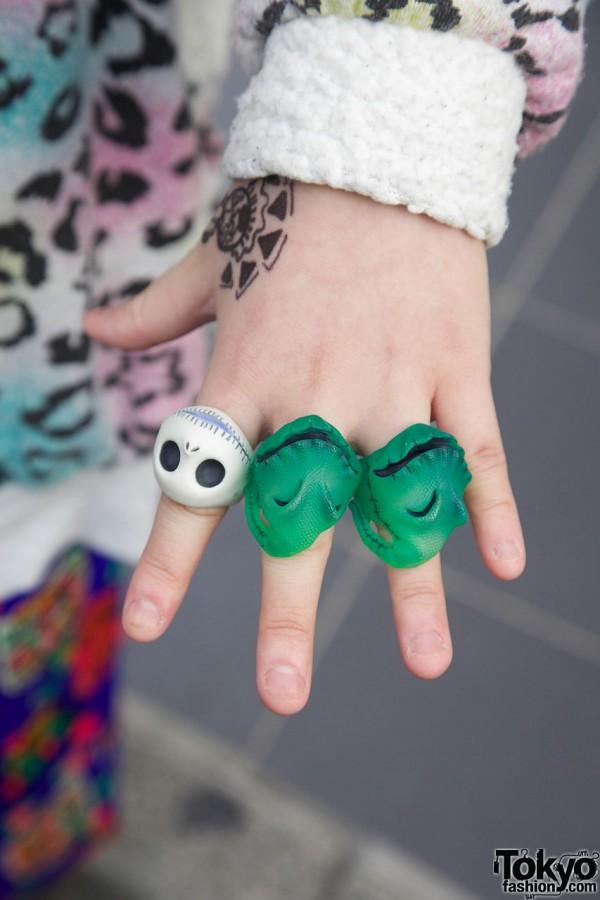 Jack Skellington ring & dinosaur rings