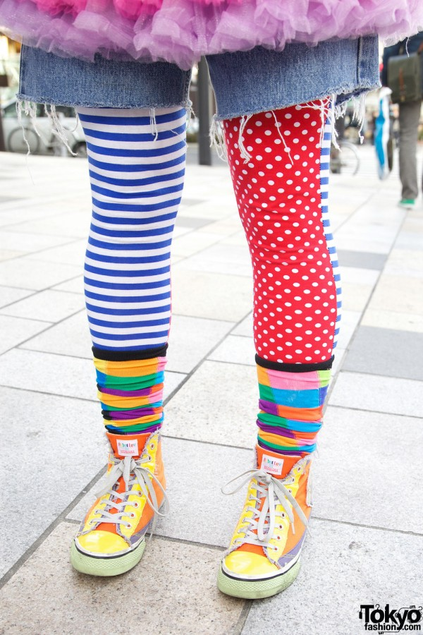 Colorful Mismatched Tights in Harajuku