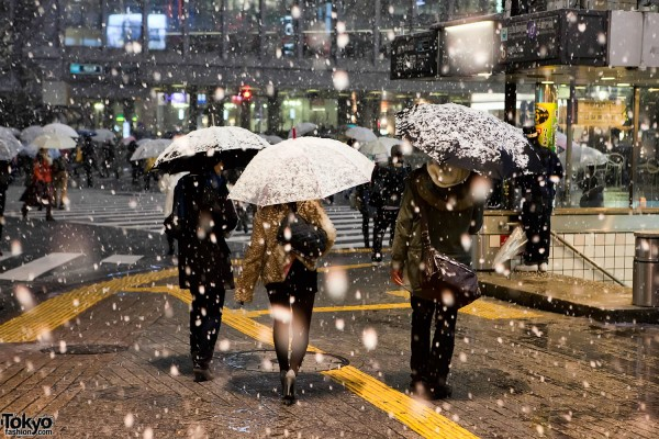 Snowing in Shibuya