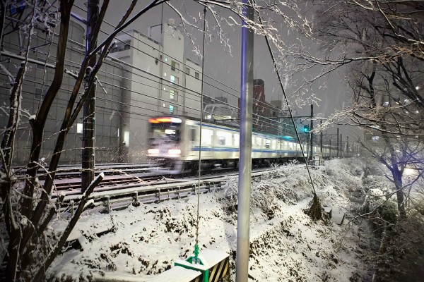 Train in the Snow in Tokyo