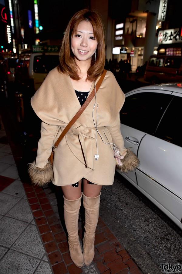 Shibuya Cape Collar Camel Coat & Knee-High Boots