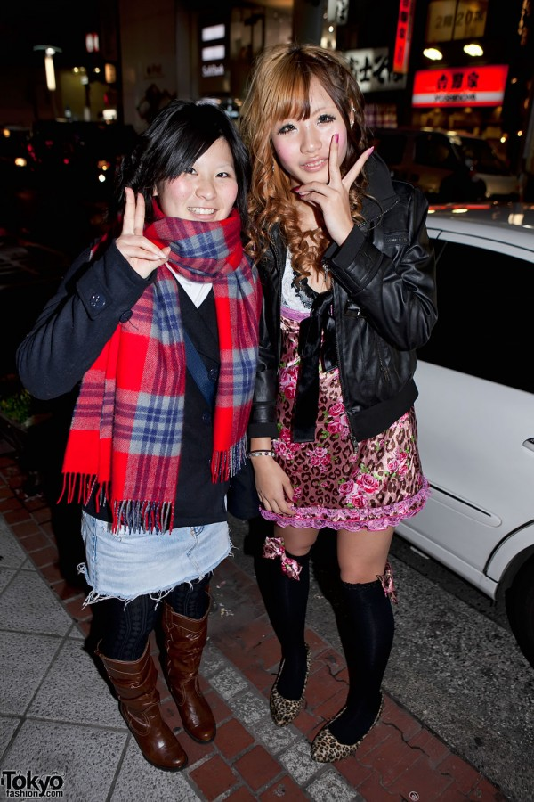 Pink Dress & Denim Skirt Girls in Shibuya