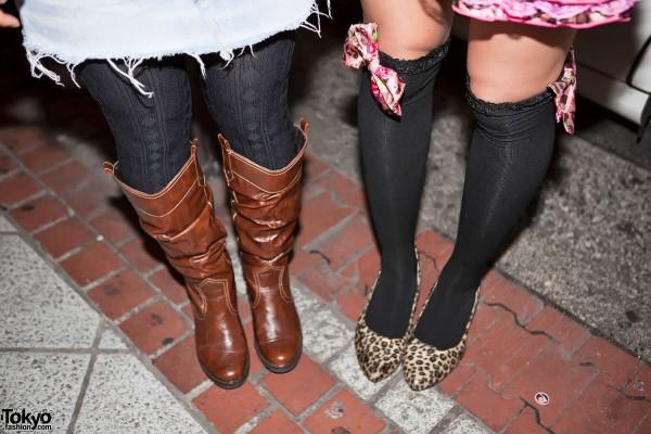 Pink Bows on Black Socks