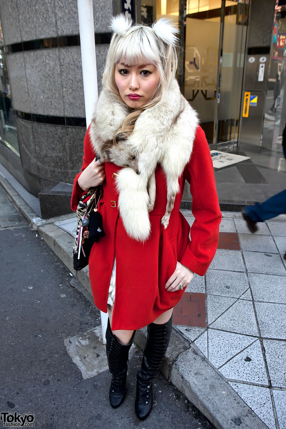 Red Jacket and Fur in Shibuya