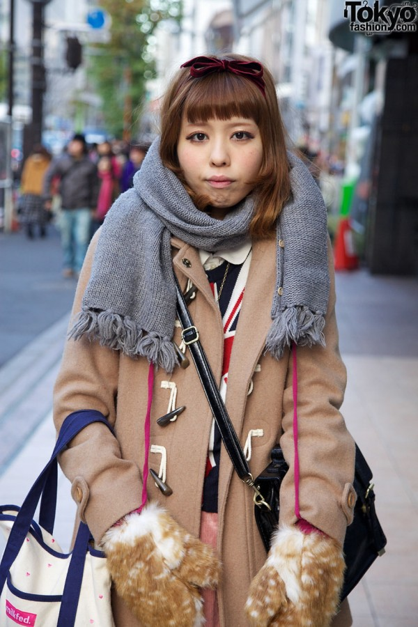Gray scarf & camel duffel coat with toggles
