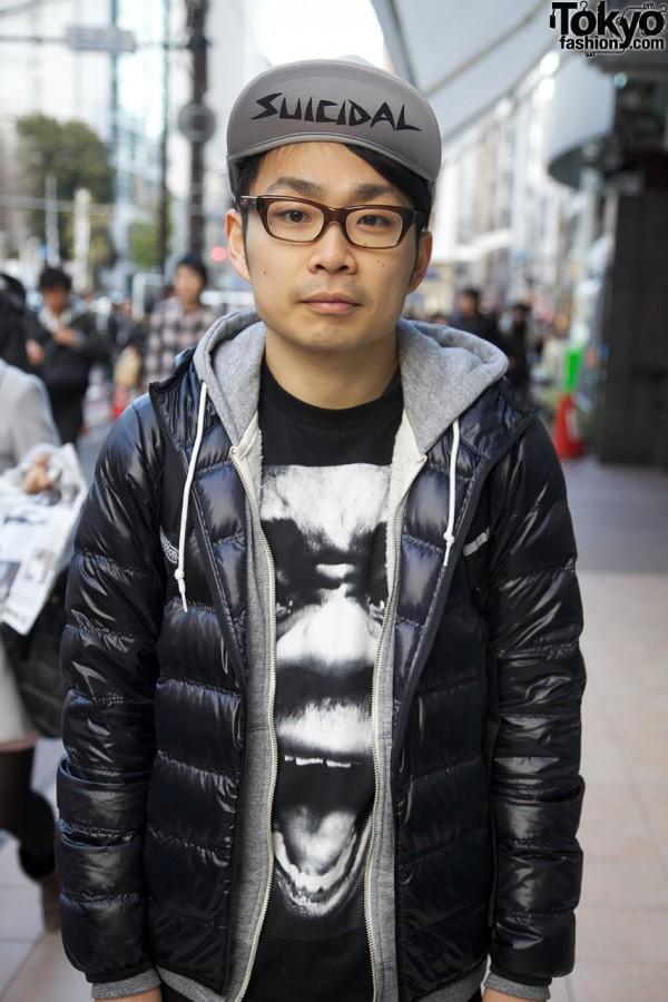 Black puffy jacket & graphic t-shirt