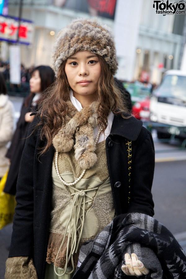 Fur hat, vintage top & black overcoat