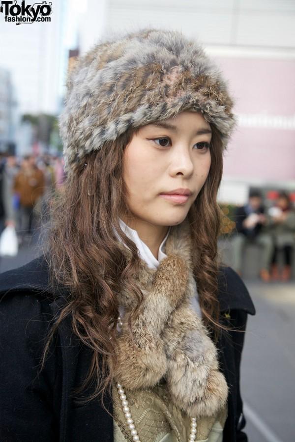 Fur hat & collar