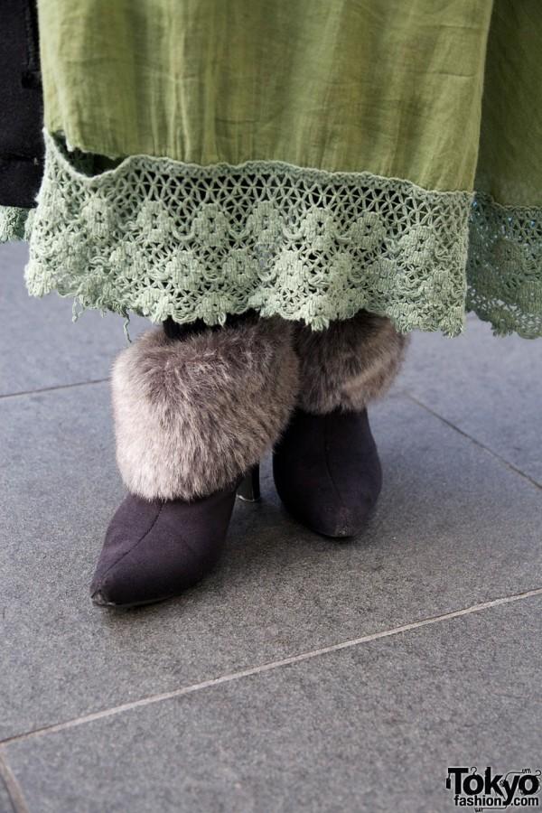 Fur-trimmed boots & vintage skirt