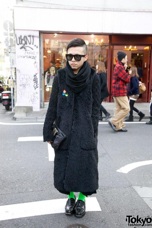 Comme des Garcons Furry Vest & Platform Loafers