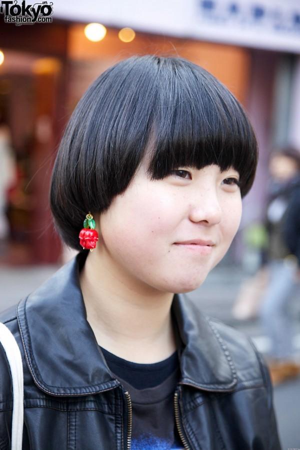 Bob haircut & fruit earring