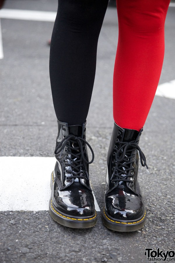 Pageboy boots with red & black stockings