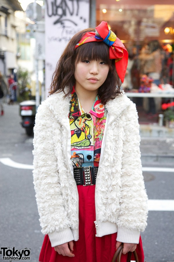 Chenille sweater & Thank-You Mart blouse
