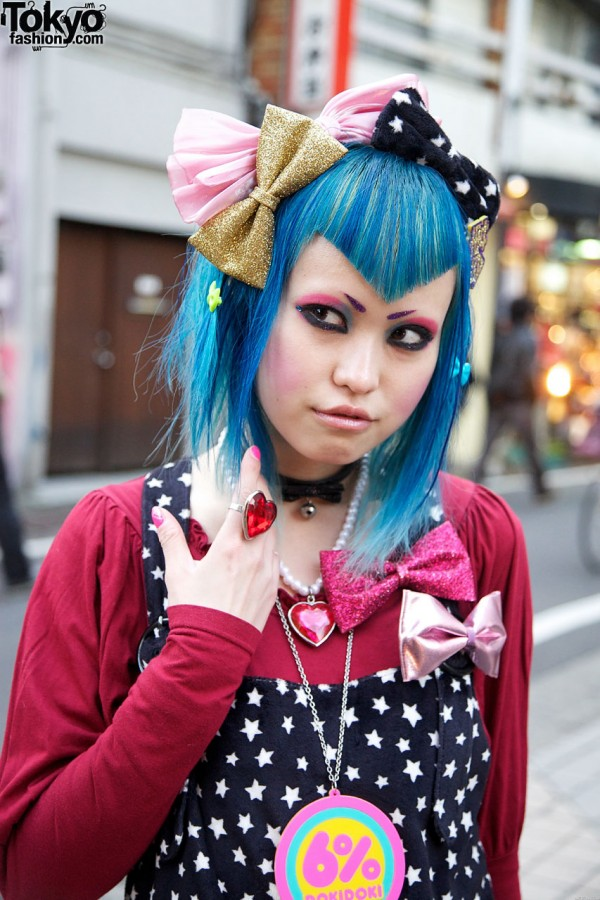 Blue hair & bold makeup