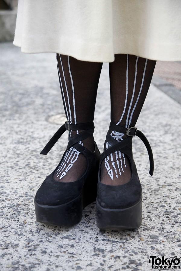 Skeleton tights & Tokyo Bopper shoes
