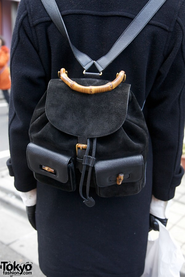 Gucci bamboo & leather backpack