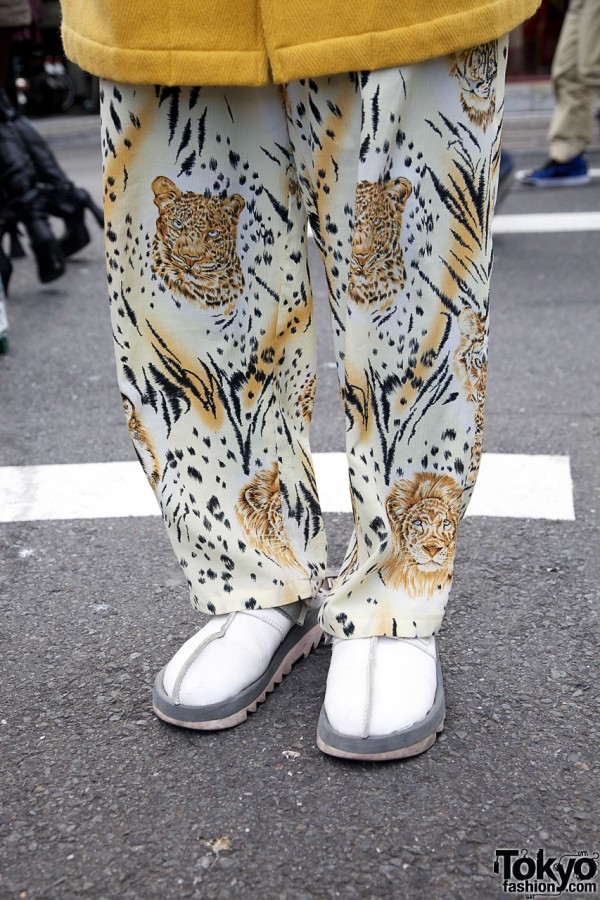 Business As Usual jungle print pants & white shoes