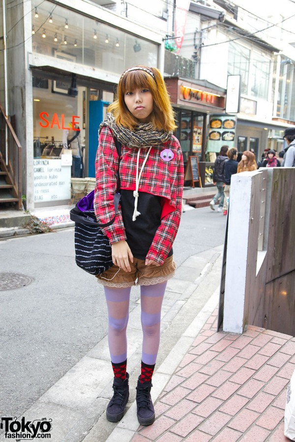 Cropped Plaid Top & Corduroy Bloomers