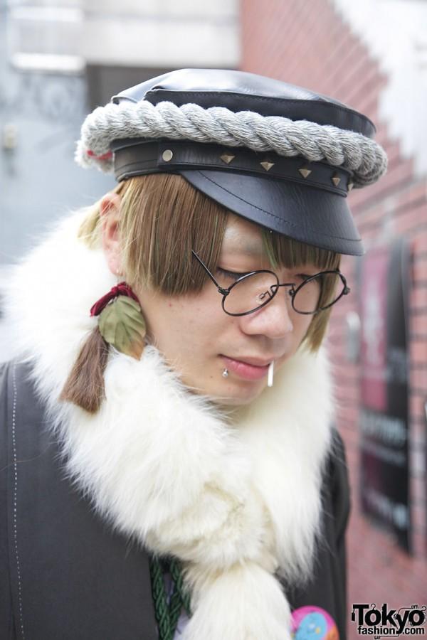 Wire rim glasses, piercing & earring