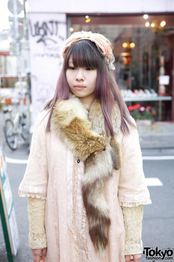 Lingerie robe & fur stole