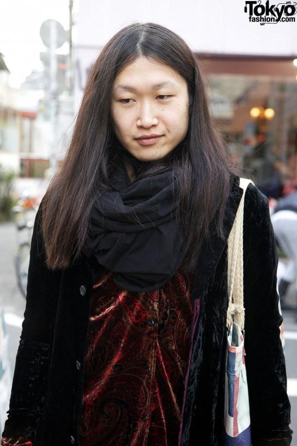 Paisley velour shirt & black scarf