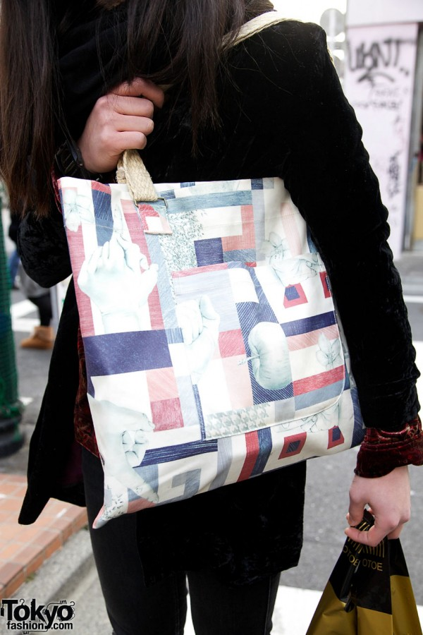 Patchwork print shoulder bag from Ohta