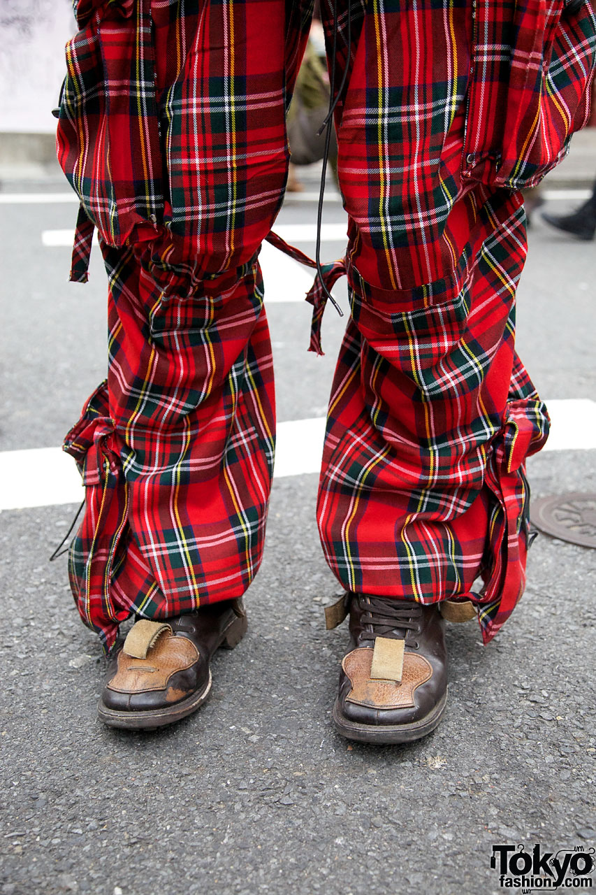 Fashion Blogger in Dog Plaid Cargo Pants & Resale Parka