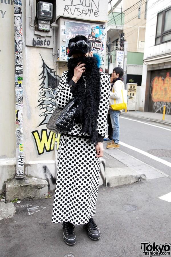 Polka Dot Suit & Furry Cap in Harajuku
